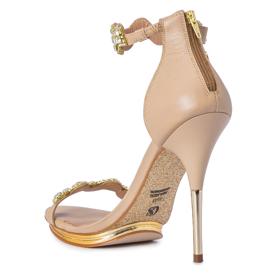 HIGH HEELED SANDALS WITH CRYSTALS ANKLE STRAP