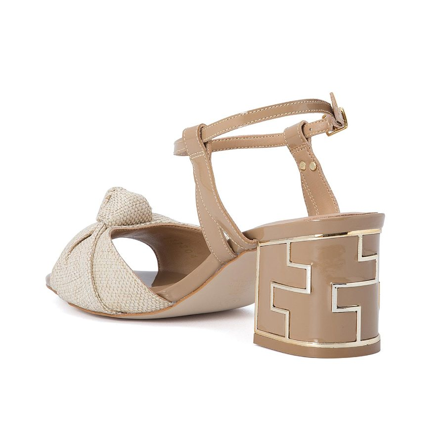 MID HEELED SANDALS WITH FRONT KNOT