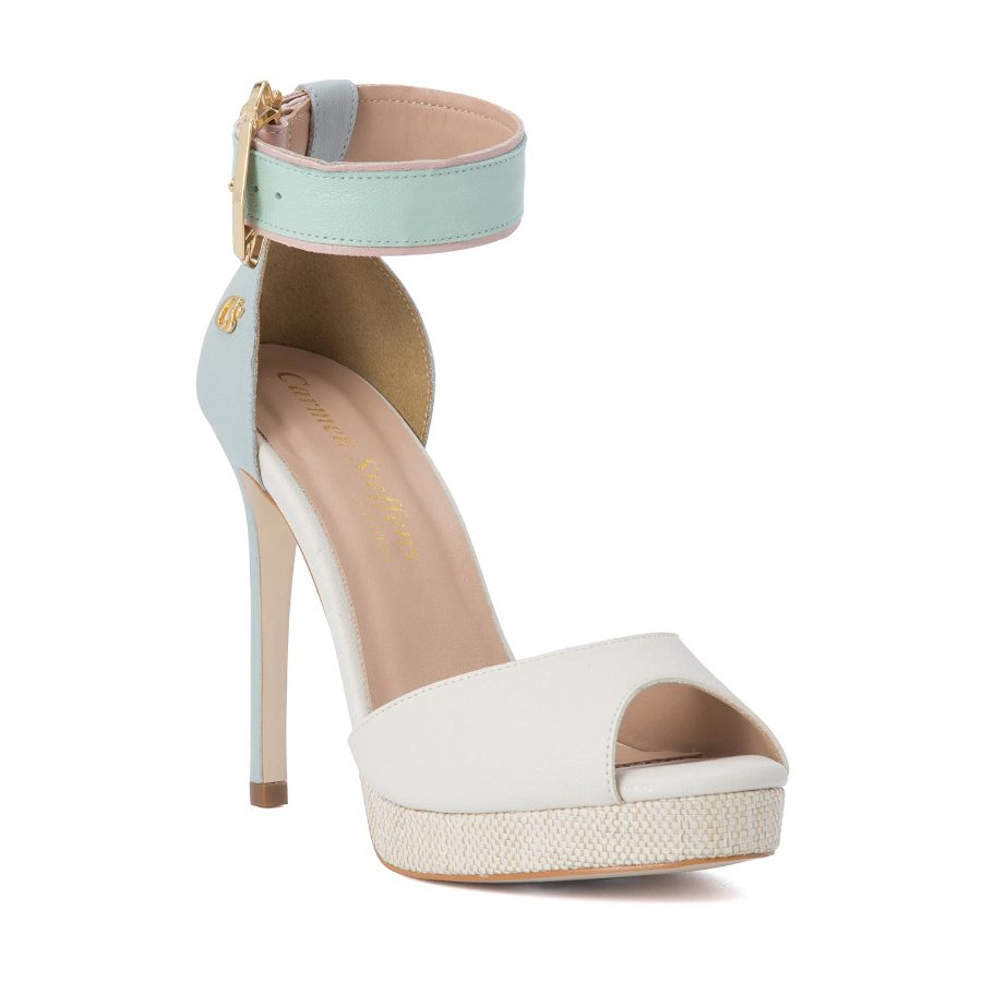 HIGH HEELED SANDALS WITH THICK ANKLE STRAP