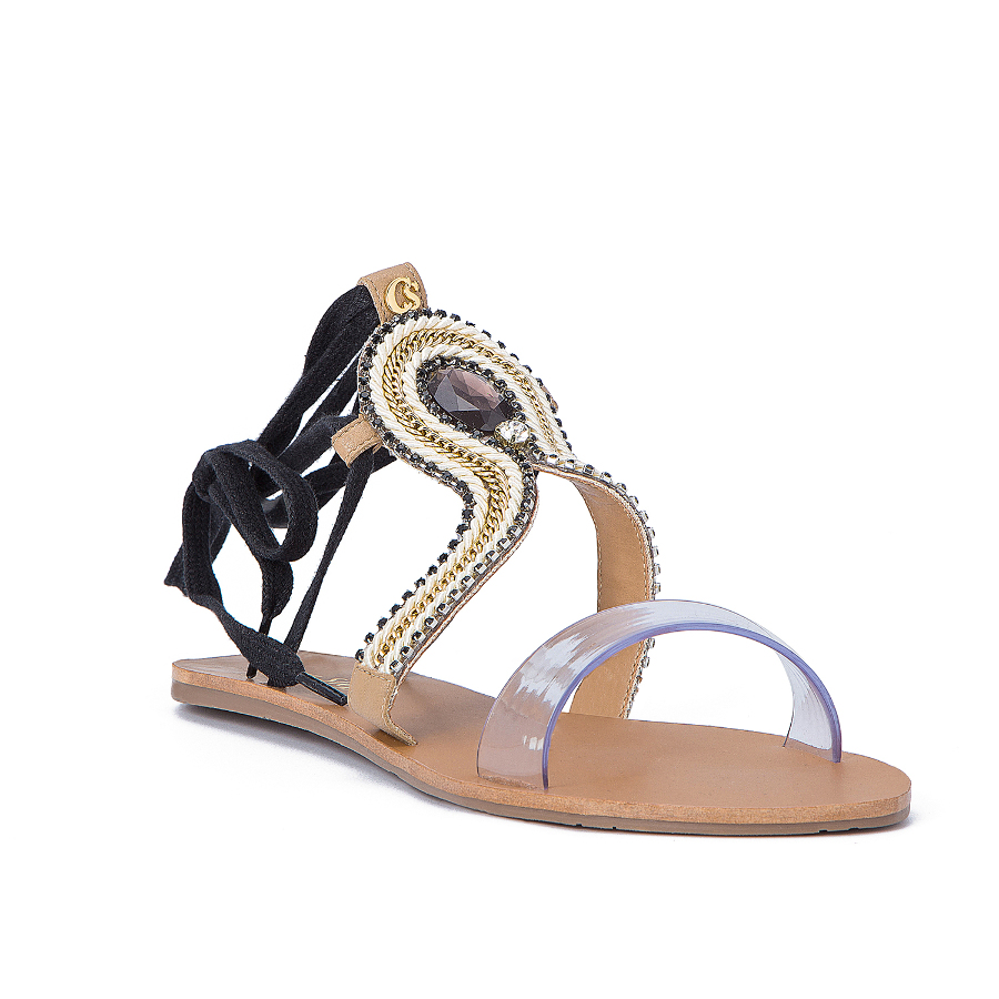 FLAT SANDALS WITH TRANSPARENT FRONT