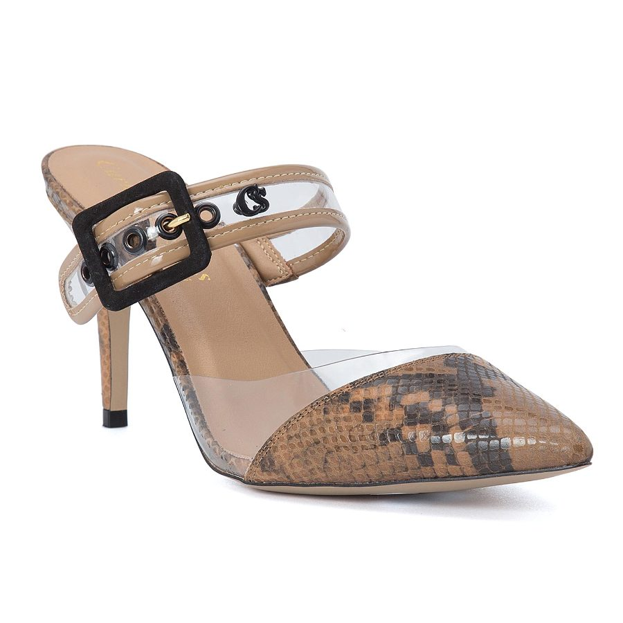 POINTY TOE MULE WITH STRAP