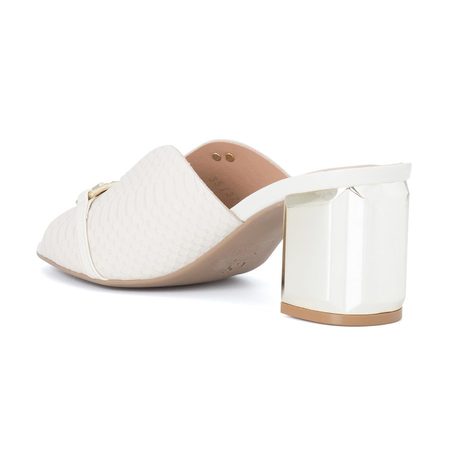 SLIP IN MULE WITH GOLDEN HEEL