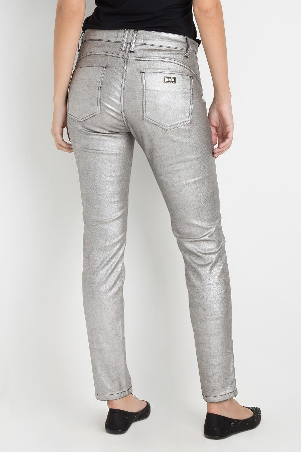 SILVER COATED SKINNY PANTS