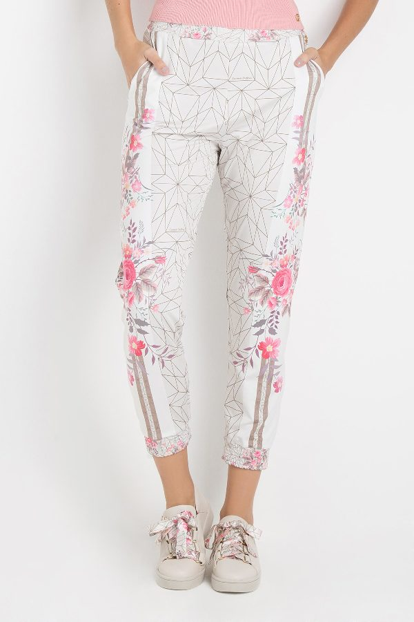 FLOWER PRINTED TRACK PANTS