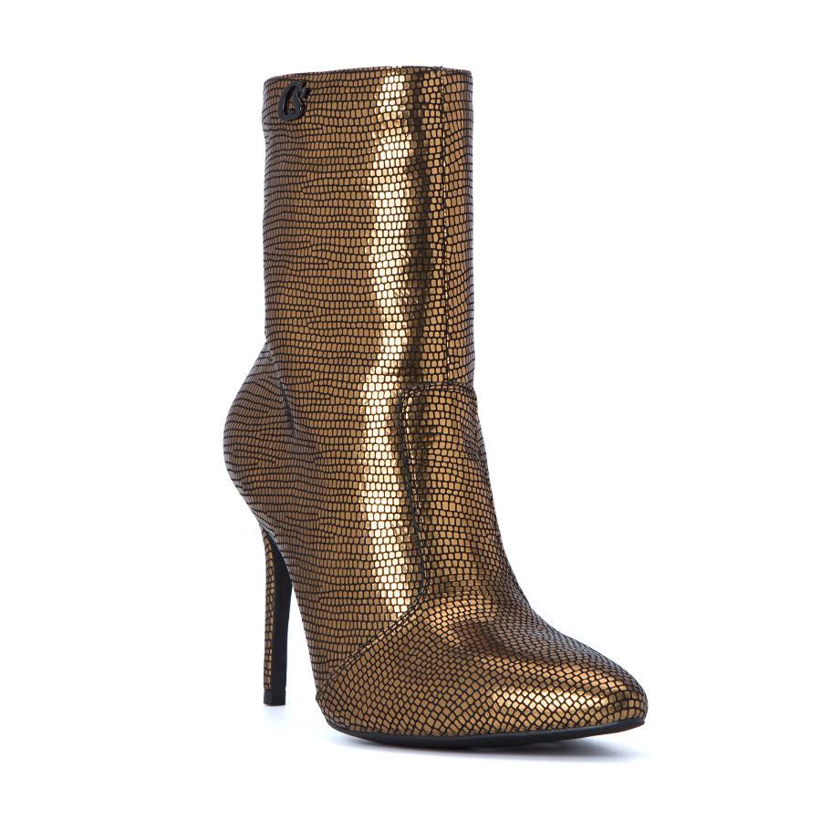 ANTIQUE GOLD LEATHER HIGH HEELED BOOTS