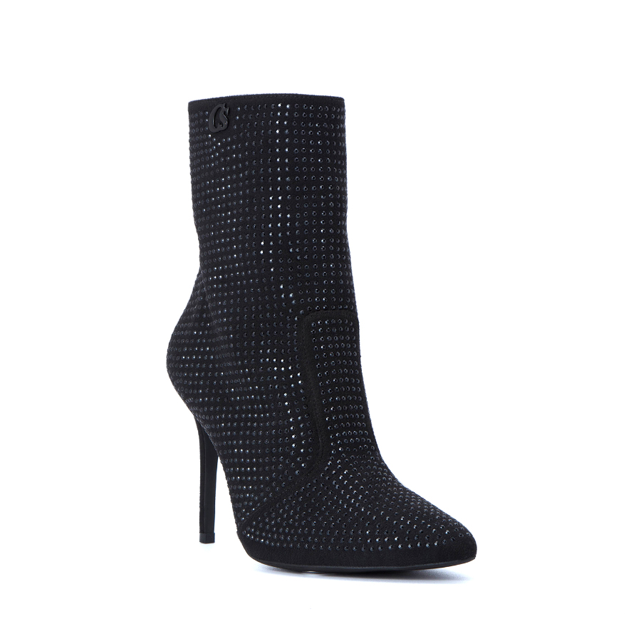 FAUX LEATHER HIGH HEELED ANKLE BOOTS WITH CRYSTALS