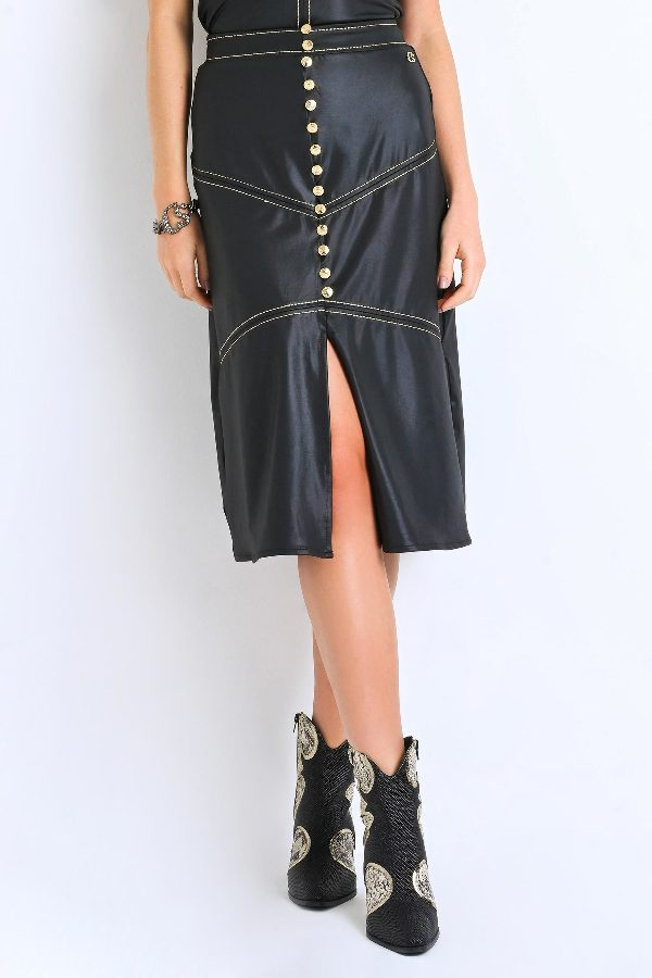 Faux Leather Skirt with Golden Bottons