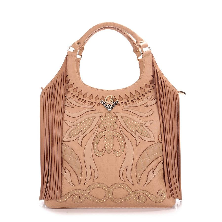 HANDBAG WITH METAL APPLIQUE AND FRINGES