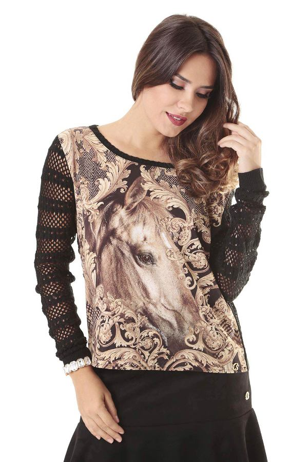 KNIT BLOUSE WITH PRINT
