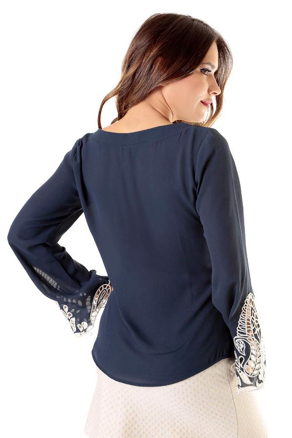 Navy Crepe Blouse