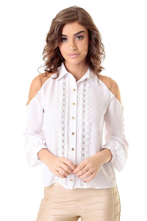 White Tulle and Lace Shirt
