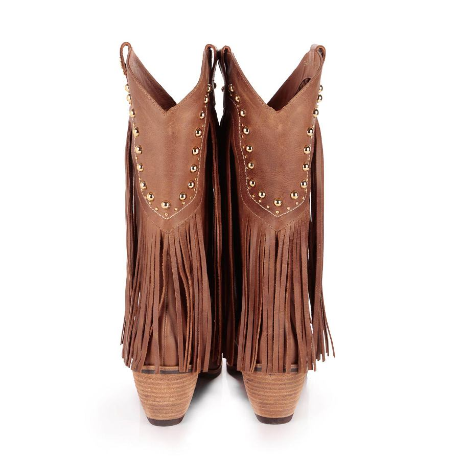 BOOT WITH FRINGES AND EMBROIDERY