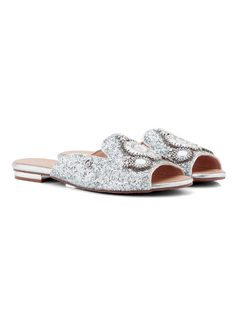 SLIDE SANDAL WITH CRYSTALS