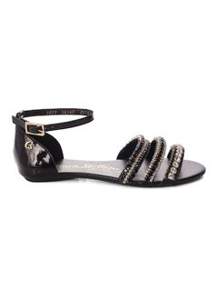 Flat Sandal with Metal Applique