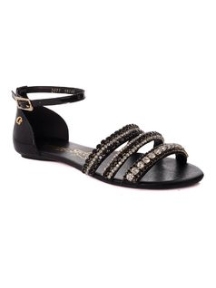 Flat Sandal with Metal Applique front