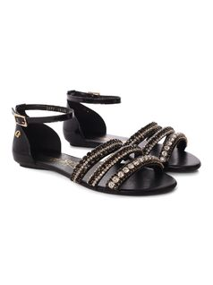 Flat Sandal with Metal Applique back