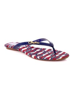 Personalized Navy Flat Sandal front
