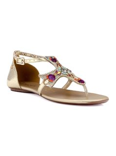 Cross Flat Sandal with Metal Applique front