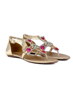Cross Flat Sandal with Metal Applique back