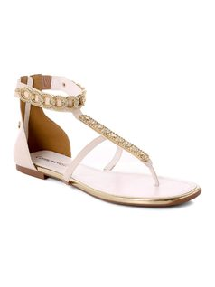 Flat Sandal with Metal Appliques