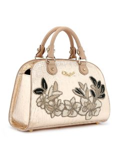 Handbag with Flower Applique back