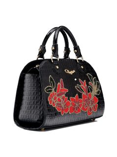 Handbag with Flower Applique