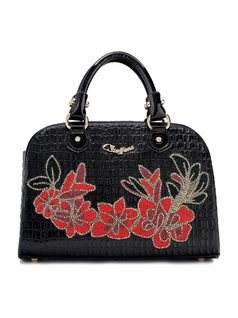Handbag with Flower Applique front