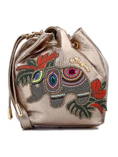 Handbag with Elephant Applique front