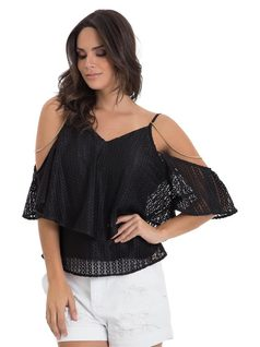 Blouse with Frills and Chains front