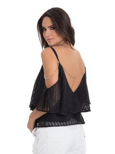 Blouse with Frills and Chains back