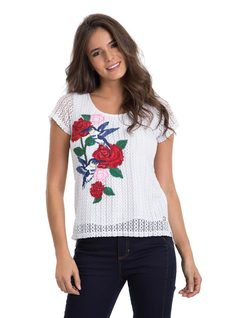 T-Shirt with Lace and Embroidery front