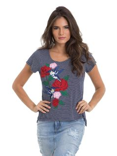 Striped T-Shirt with Embroidery front