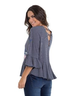 Striped Blouse with Embroidery back