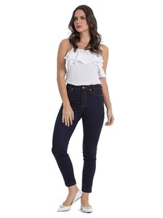 High-Waisted Skinny Slacks front
