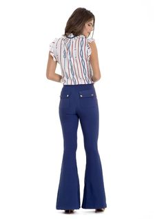 Flare Pants with High Waistband back
