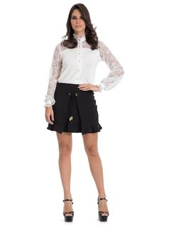 Short Skirt with Eyelets front