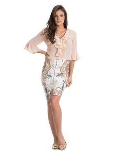 Printed Midi Skirt front