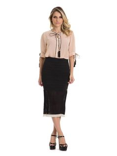Midi Skirt with Draped Frills front