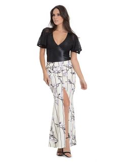 Long Skirt with Darts front