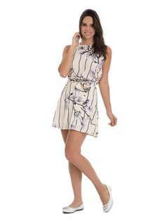 Printed Dress with Frills front