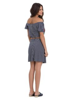 Striped Dress with Embroidery back
