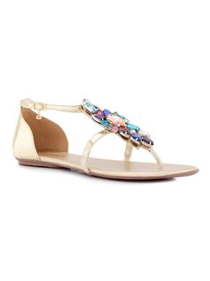 FLAT SANDAL WITH STONEWORK front