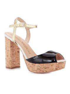 PATENT LEATHER PLATFORM SHOE WITH CORK HEEL front