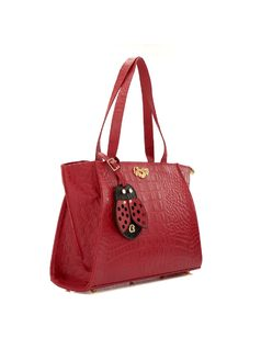 CROCODILE HANDBAG WITH LADYBUG KEYCHAIN back