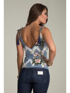 PRINTED TANK TOP WITH BOW back