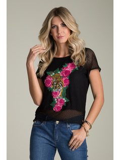 MESH T-SHIRT WITH EMBROIDERY front