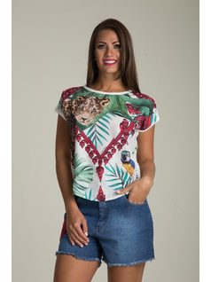 SHORT-SLEEVE PRINTED BLOUSE