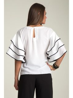 BLOUSE WITH FRILLY SLEEVES back