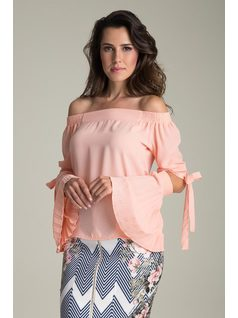 SHOULDER-TO-SHOULDER BLOUSE WITH PLEATED SLEEVES front