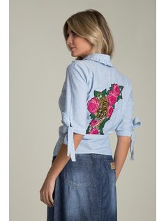 Navy SHIRT WITH EMBROIDERY back